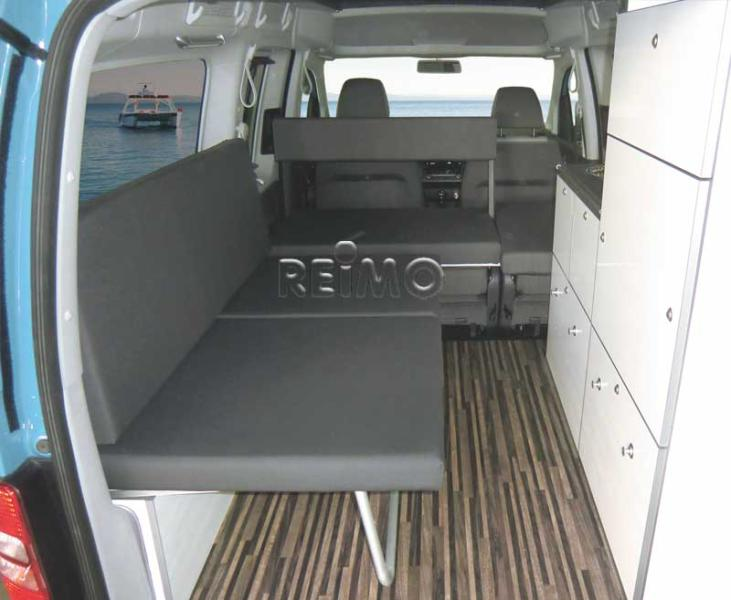 VW Caddy lR, bed/fold seat bench, white high gloss, with