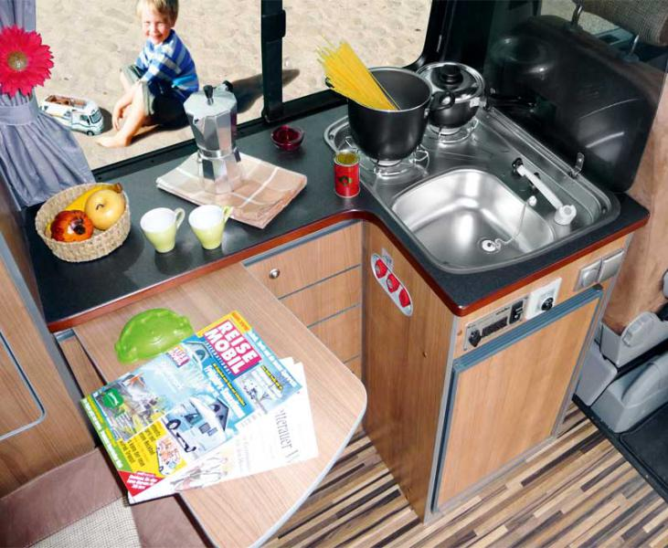 Kitchen unit with sideboard, for TravelStyle VW T6/T5 KR+LR